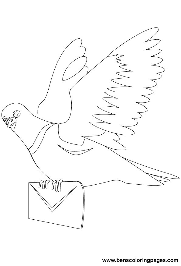 Coloring flying pigeon coloring pages for Coloring pages pigeon