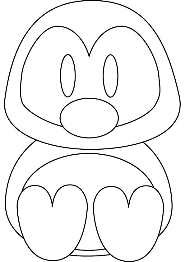 baby penguin coloring page for kids - Penguins Coloring Pages Printable