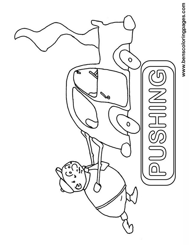 pushing coloring page