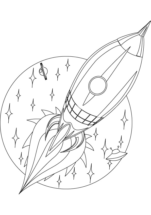 Rocket coloring page online.