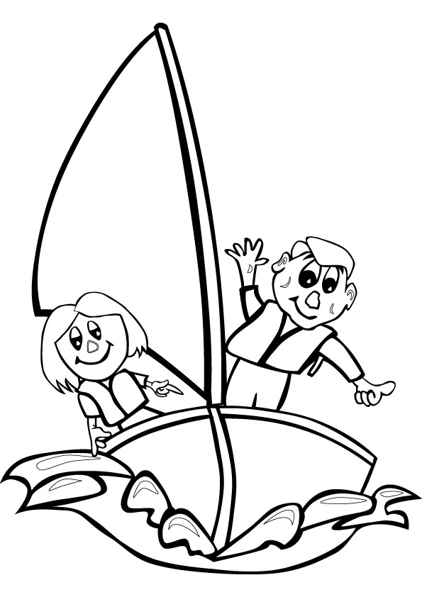 Sailing kids coloring pages online