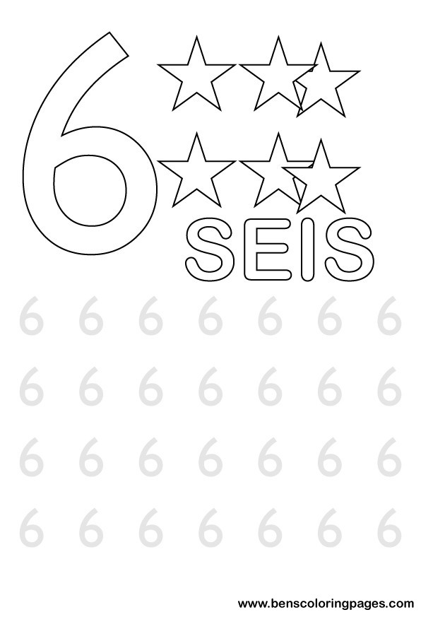 Number 6 Template Coloring Pages