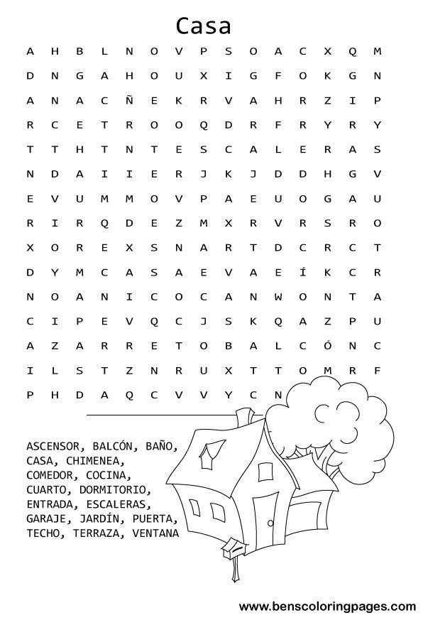 House contents word search in spanish.