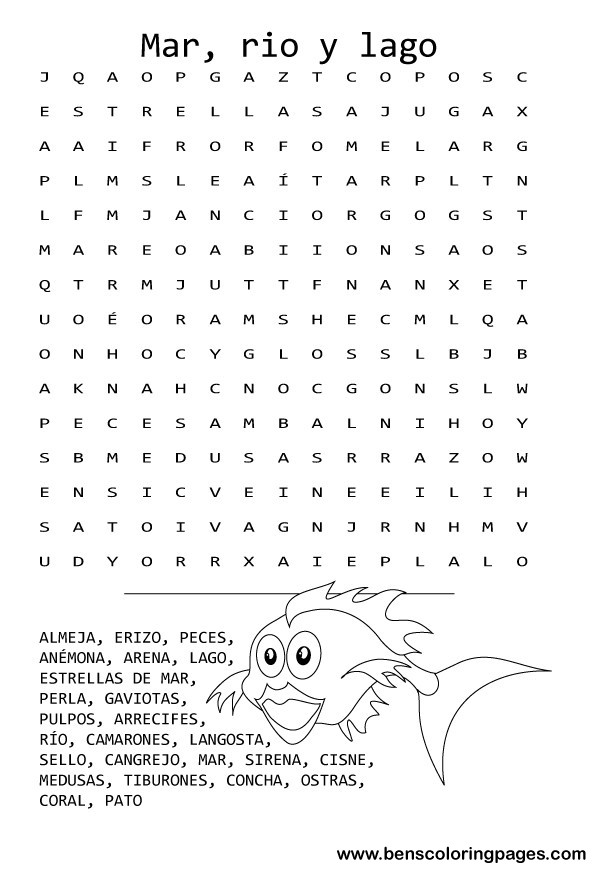 coloring pages with spanish words search