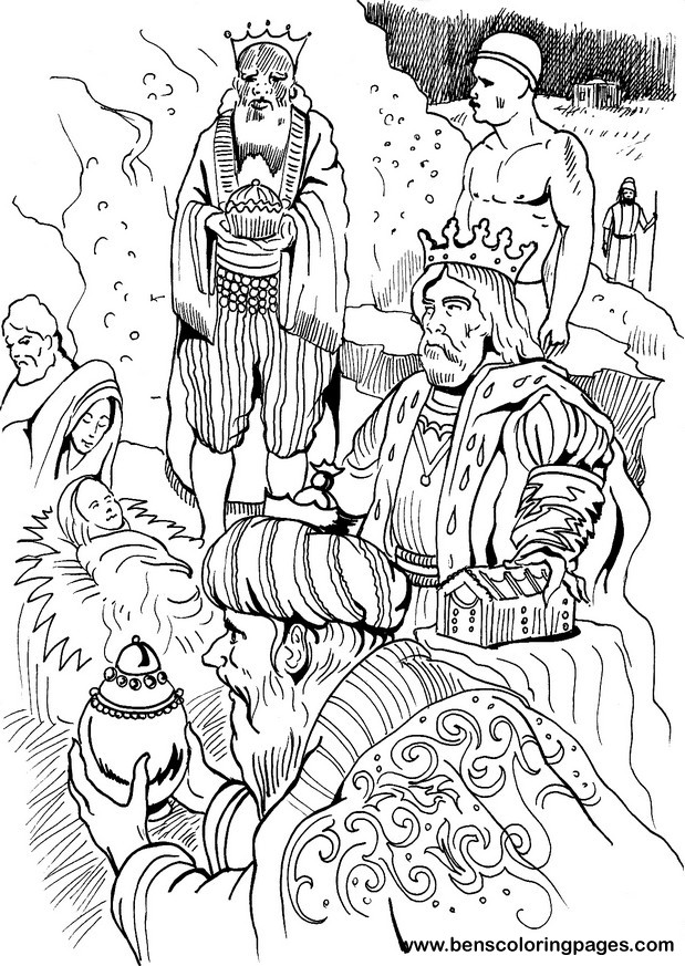 Three wise men gifts coloring page
