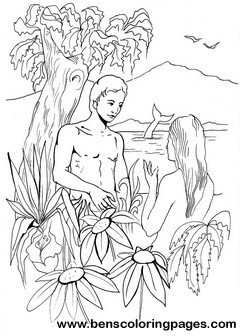 Adam and eve bible coloring book