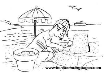 Beach sand castle coloring for kids