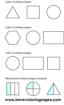 fractions coloring page
