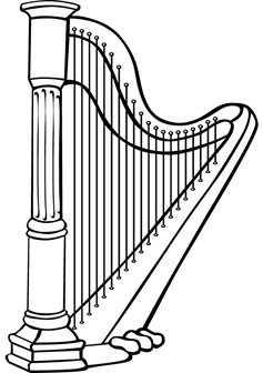 Download Free Harp Coloring Page