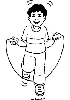 Free boy jumping rope coloring