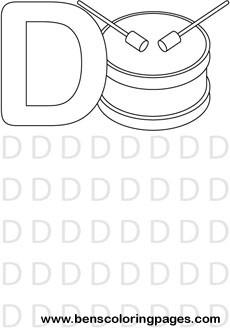 Letter D preschool coloring pages
