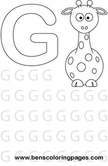 letter G preschool coloring page