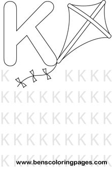 letter K preschool coloring page