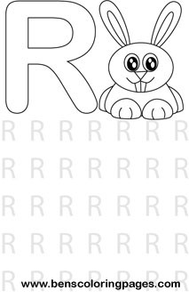 Learn Letter R Alphabet Excercise Coloring