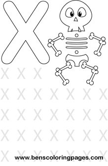 Learning alphabet Letter X preschool coloring page