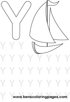 letter Y alphabet coloring resource