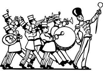 Marching band coloring drawing.