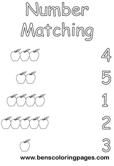 number matching coloring sheets