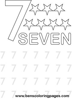 learning number seven coloring print