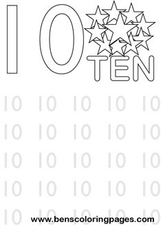 learning number ten coloring print
