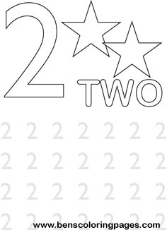 learning number two coloring print