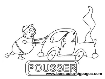 pousser educational flashcard