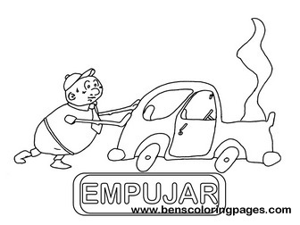 empujar educational flash card