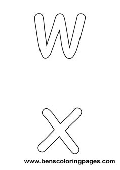 w and x preschool coloring pages