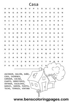 House contents word search in spanish