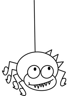 Wacky spider coloring pages