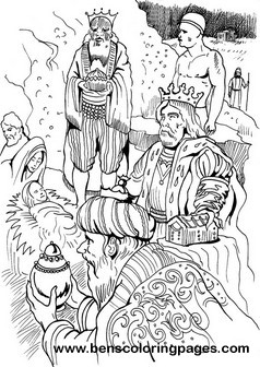 Three wise men gifts coloring sheet