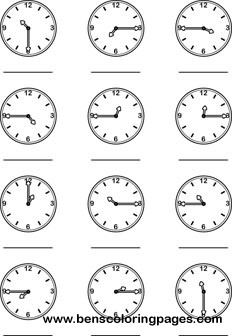 Learning the quarter hour clock preschool coloring page