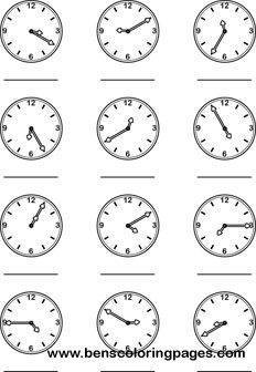 Learning the minutes clock preschool coloring page