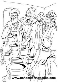 Cana marriage miracle coloring sheet