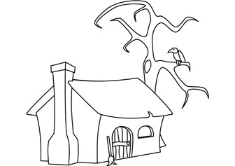 Witch Cottage coloring pages for kids