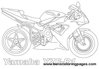 Yamaha yzf r1 coloring pages