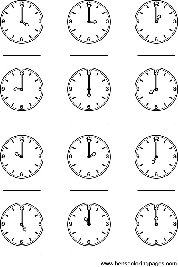 Learning The Hour Clock Preschool Coloring Page Times Coloring Pages