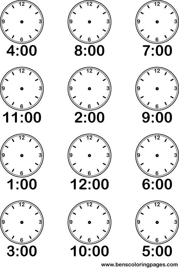 7 Or Clock Coloring Pages