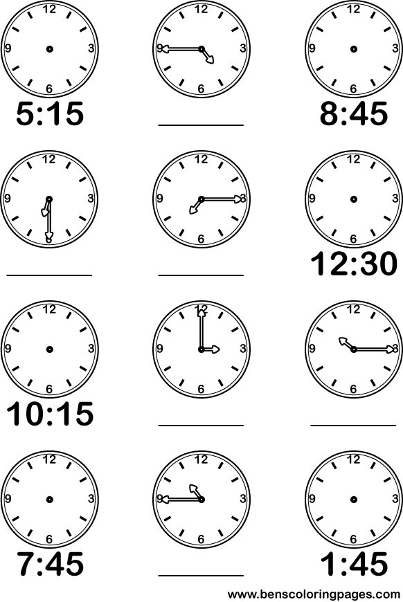 Learning Time Quarter Hourly Coloring Page