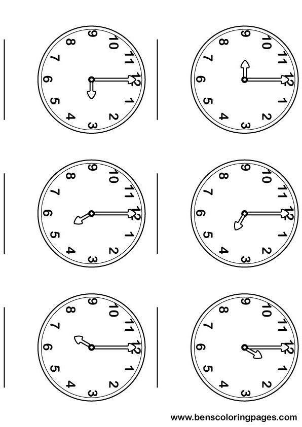 Printable sheet, learning the time with large and numbered clocks