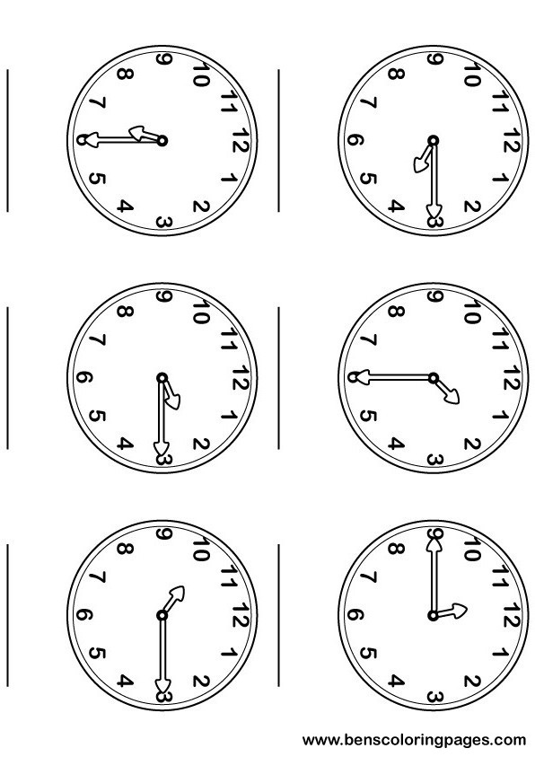 Printable page, large and numbered clocks
