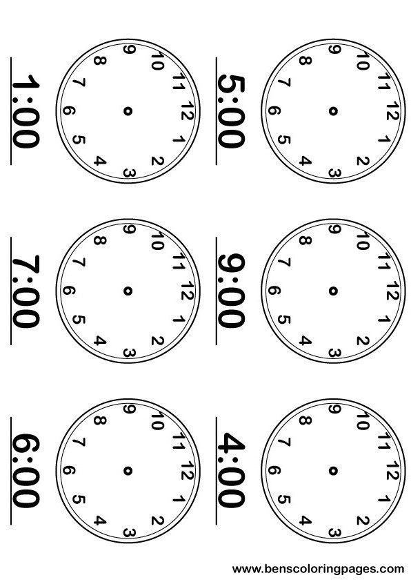 Printable page, learning the time activity with large and numbered clocks