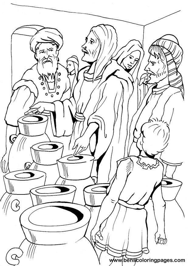 jesus turns water into wine coloring page - cana marriage miracle coloring page