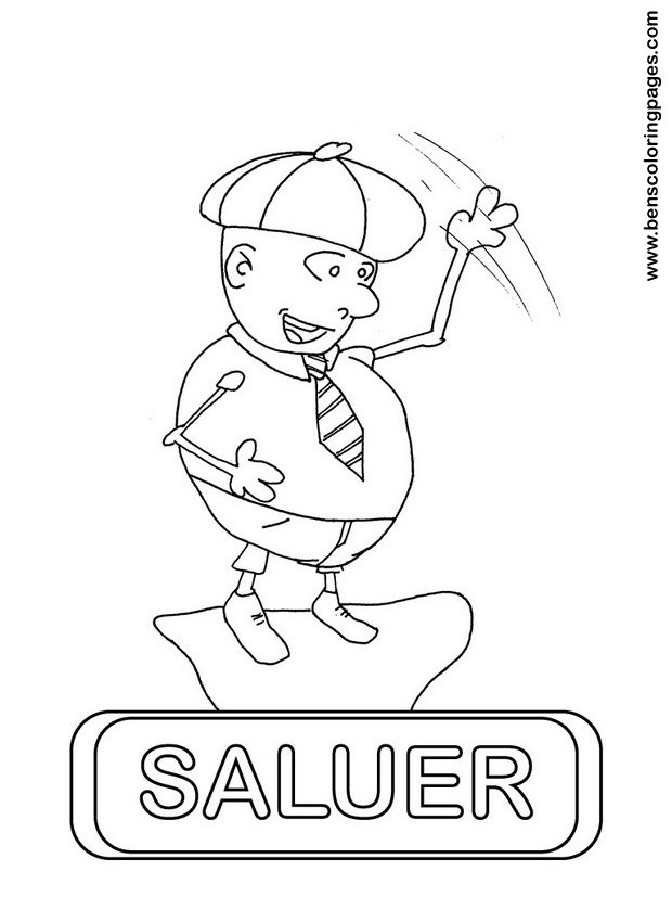 saluer coloring page