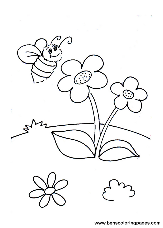 Bee And Flowers Coloring Page For Kids