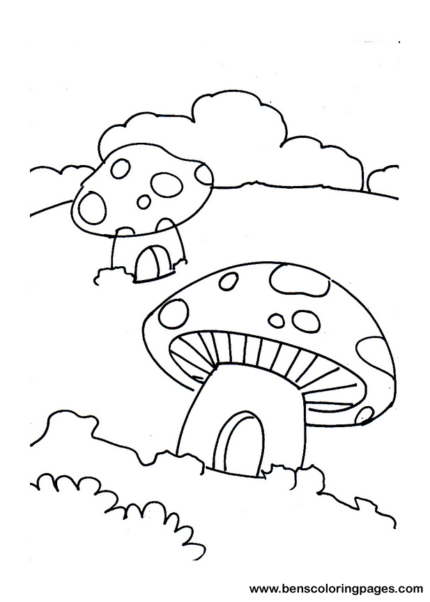 Mushroom House Coloring Page For Kids