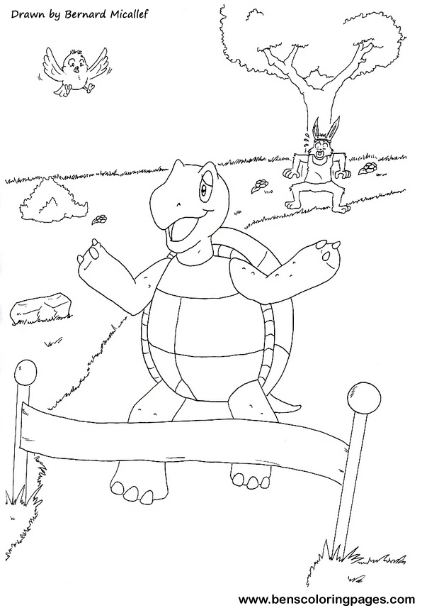The Tortoise And The Hare Fable Tortoise And The Hare Coloring Page