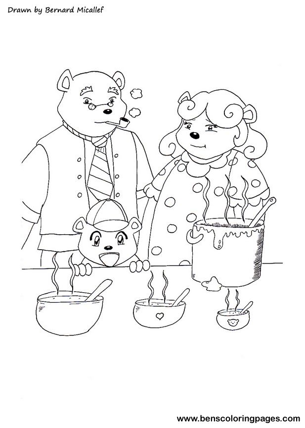 Free Coloring Pages Of Goldilocks And 3 Bears Goldilocks And The Three Bears Coloring Pages