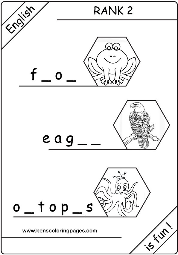 Learning English Colouring Pages