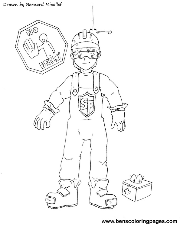 safety gear coloring pages - photo#1